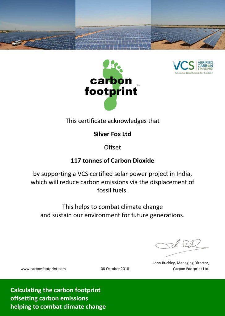 2018_10 CFP VCS Offset Certificate – Silver Fox Ltd v1.0