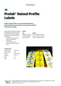 2019 Prolab Raised profile labels Thermalv3
