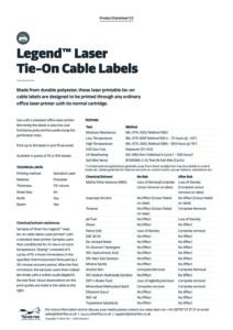 2020 Legend Tie on cable label – Laserv1